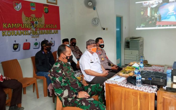 Launching Jayakarta Benteng Pancasila, Danramil 04/Babelan Kodim 0509 Mengikuti Zoom Meeting Bersama Muspika