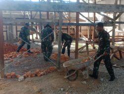 Satgas Pamrahwan Yonif RK 751/VJS Bantu Pembangunan Gereja